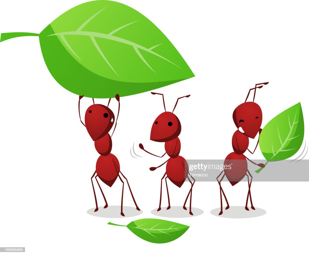 Three Ants working and carrying leafs to the anthill