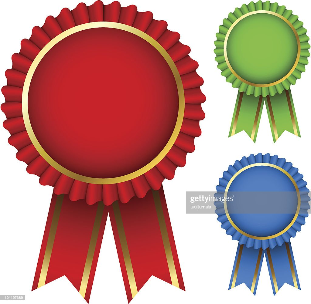 Three award ribbon rosettes on a white background