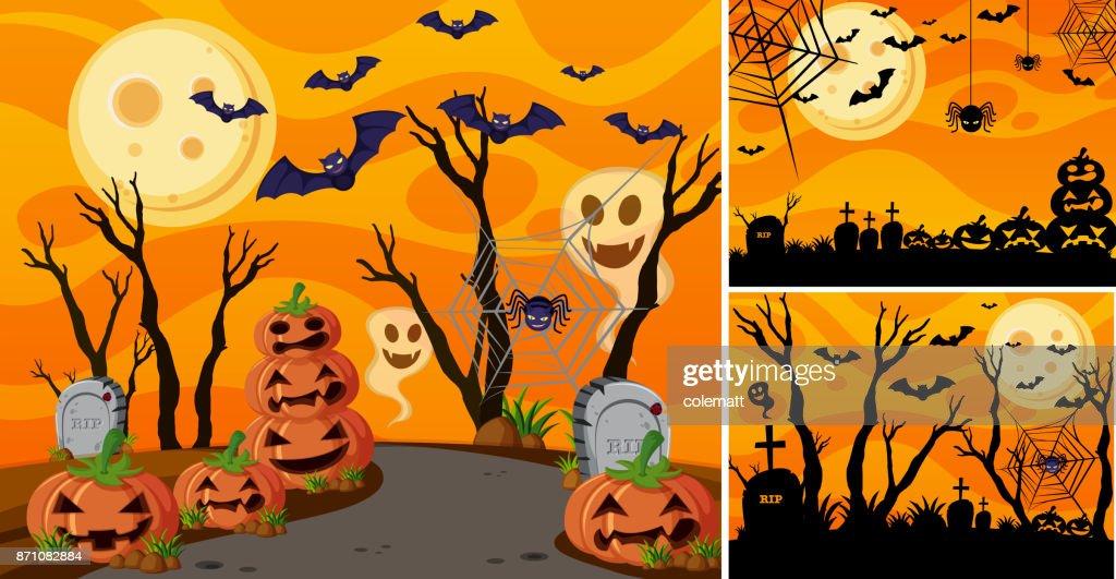 Three background with halloween night and jack-o-lanterns