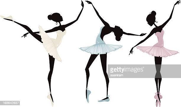 ilustraciones, imágenes clip art, dibujos animados e iconos de stock de tres ballerinas - zapatilla de ballet