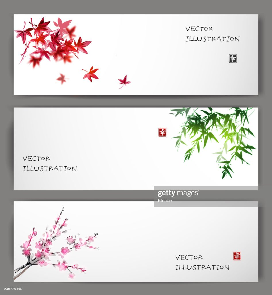 Three banners with maple, bamboo and oriental cherry sakura