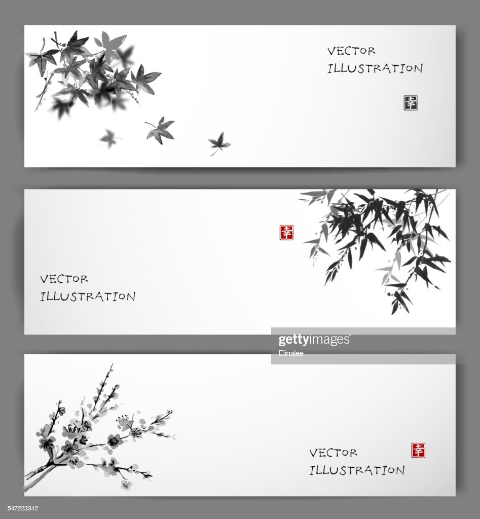 Three banners with maple, bamboo and oriental cherry sakura