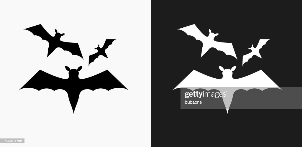 Three Bats Flying Icon on Black and White Vector Backgrounds