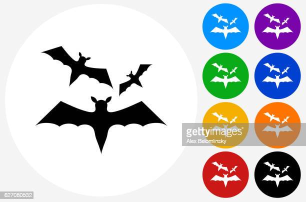 Three Bats Flying Icon on Flat Color Circle Buttons