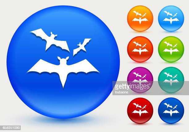 Three Bats Flying Icon on Shiny Color Circle Buttons