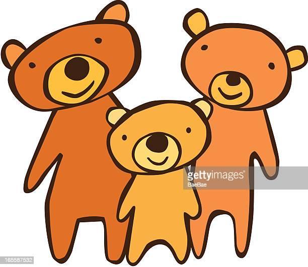 three bears - three animals stock illustrations