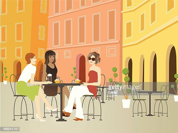 three beautiful women hanging out at sidewalk cafe in europe - tuscany stock illustrations, clip art, cartoons, & icons