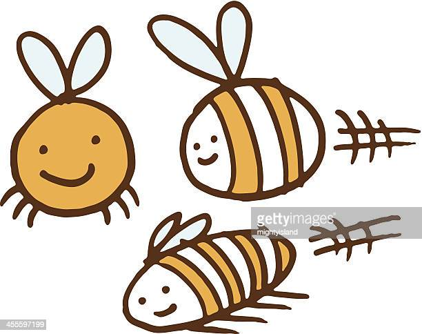three bees - bumblebee stock illustrations, clip art, cartoons, & icons