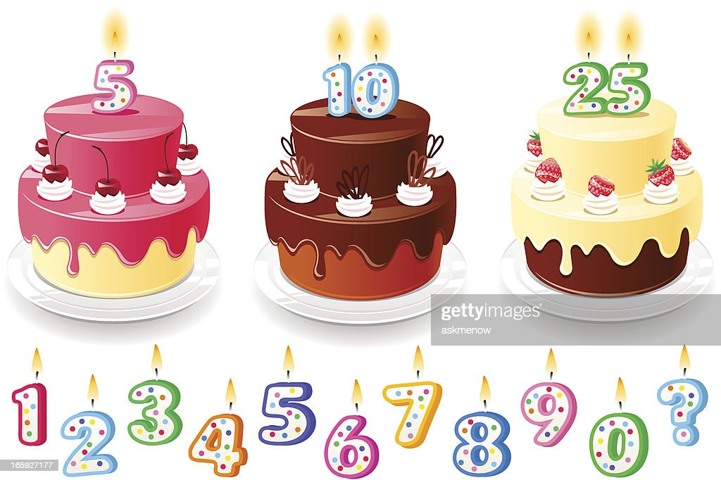 Three birthday cakes : stock illustration