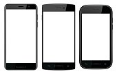 Three black smart phones