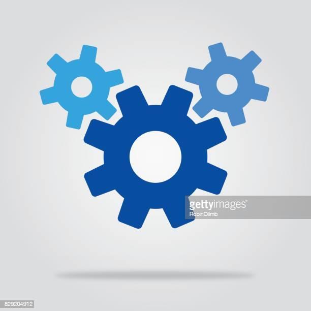 3 つの青い歯車アイコン - 組み合わさる点のイラスト素材/クリップアート素材/マンガ素材/アイコン素材