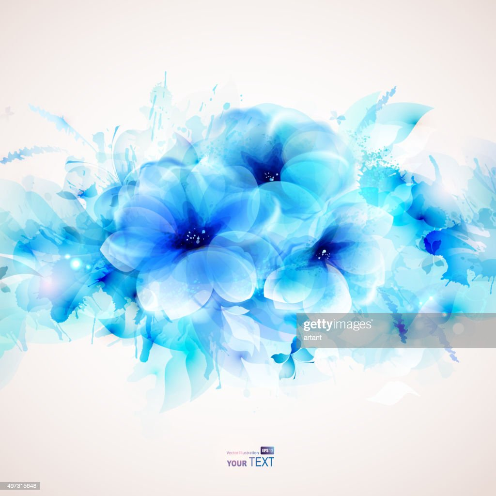 three blue tender flowers