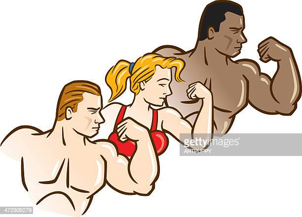 three bodybuilders - bicep stock illustrations, clip art, cartoons, & icons