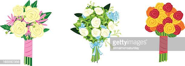three bouquets - bouquet stock illustrations