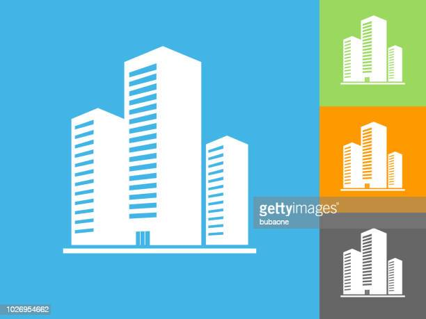 three building flat icon on blue background - building exterior stock illustrations