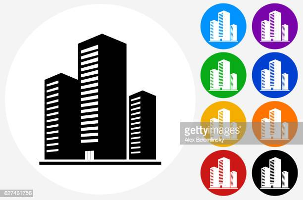 Three Buildings Icon on Flat Color Circle Buttons