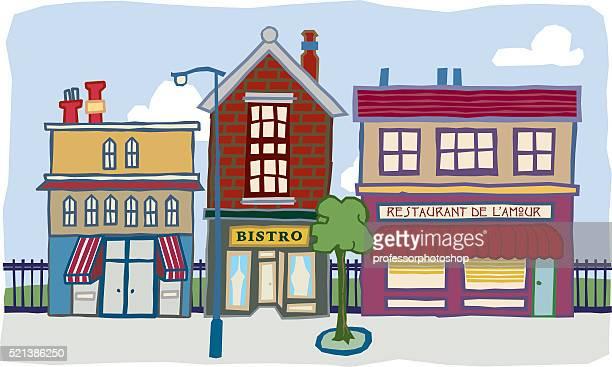 illustrations, cliparts, dessins animés et icônes de trois bâtiments - village
