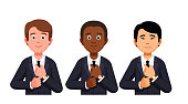 Three business man fixing necktie portraits. Caucasian, African American and Asian. Diverse international team. Flat style vector clipart