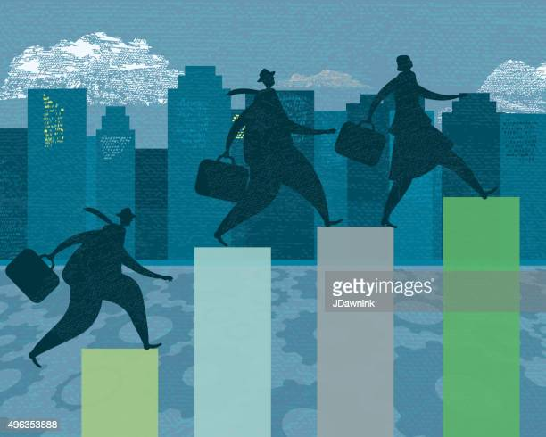 Three business person silhouettes - competitive investment growth targets