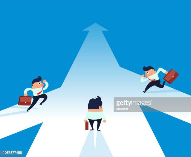 three businessmen heading for an end - glühend stock illustrations