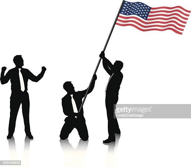 ilustraciones, imágenes clip art, dibujos animados e iconos de stock de tres hombres sosteniendo la bandera estadounidense - agarrar