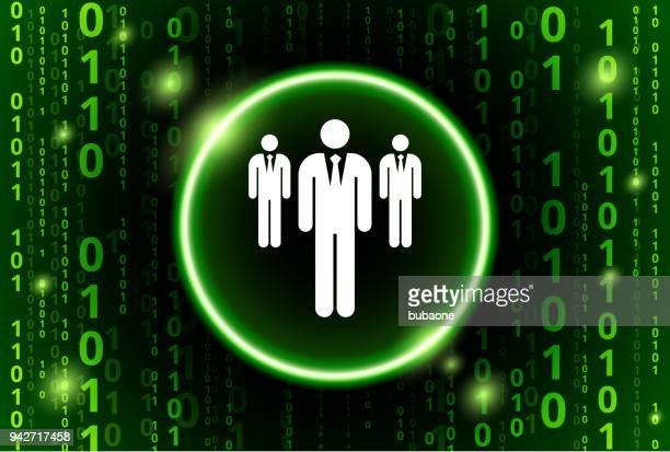 Drei Geschäftsleute stehen Binär-Code Vektor Muster Hintergrund