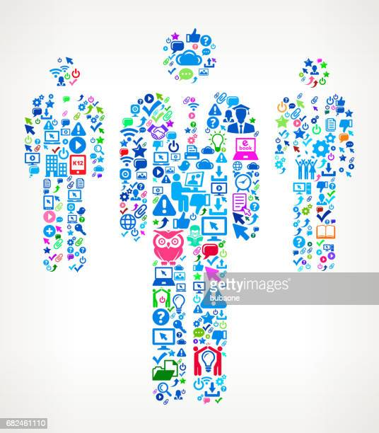 Three Businessmen Standing Modern Education and College Degree Icon Pattern