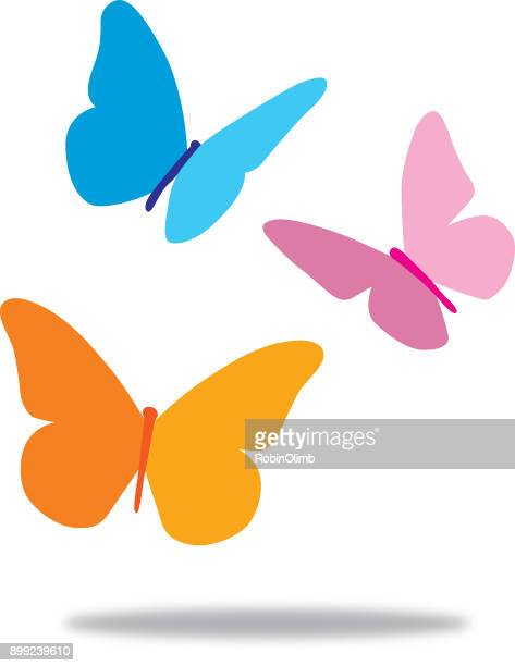 three butterflies - springtime stock illustrations