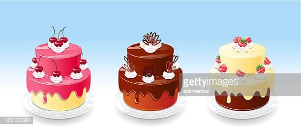 three cakes - glazed food stock illustrations, clip art, cartoons, & icons