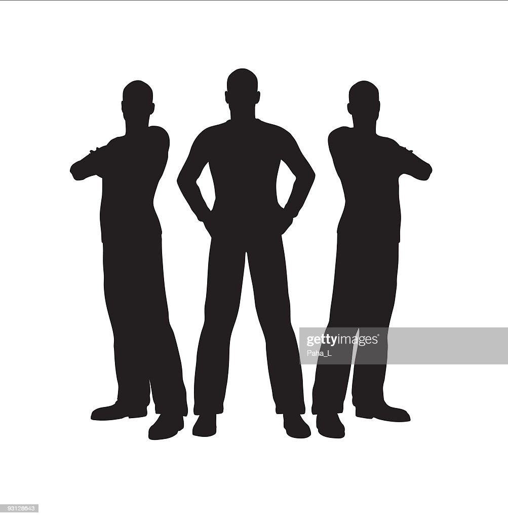 Three cartoon men in silhouette