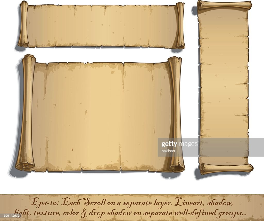 Three Cartoon Scrolls Lying Flat