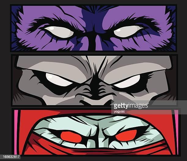 Three cartoons of monster eyes