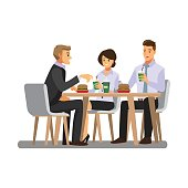 three cheerful friends chatting while lunch in restaurant , vector