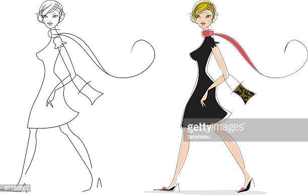 illustrations, cliparts, dessins animés et icônes de très chic - jeunes femmes