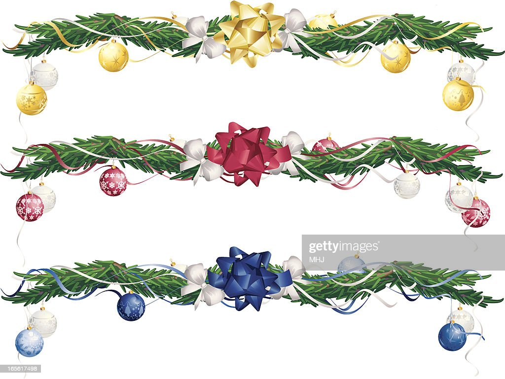 Three Christmas Garlands In Gold Red And Blue Vector Art