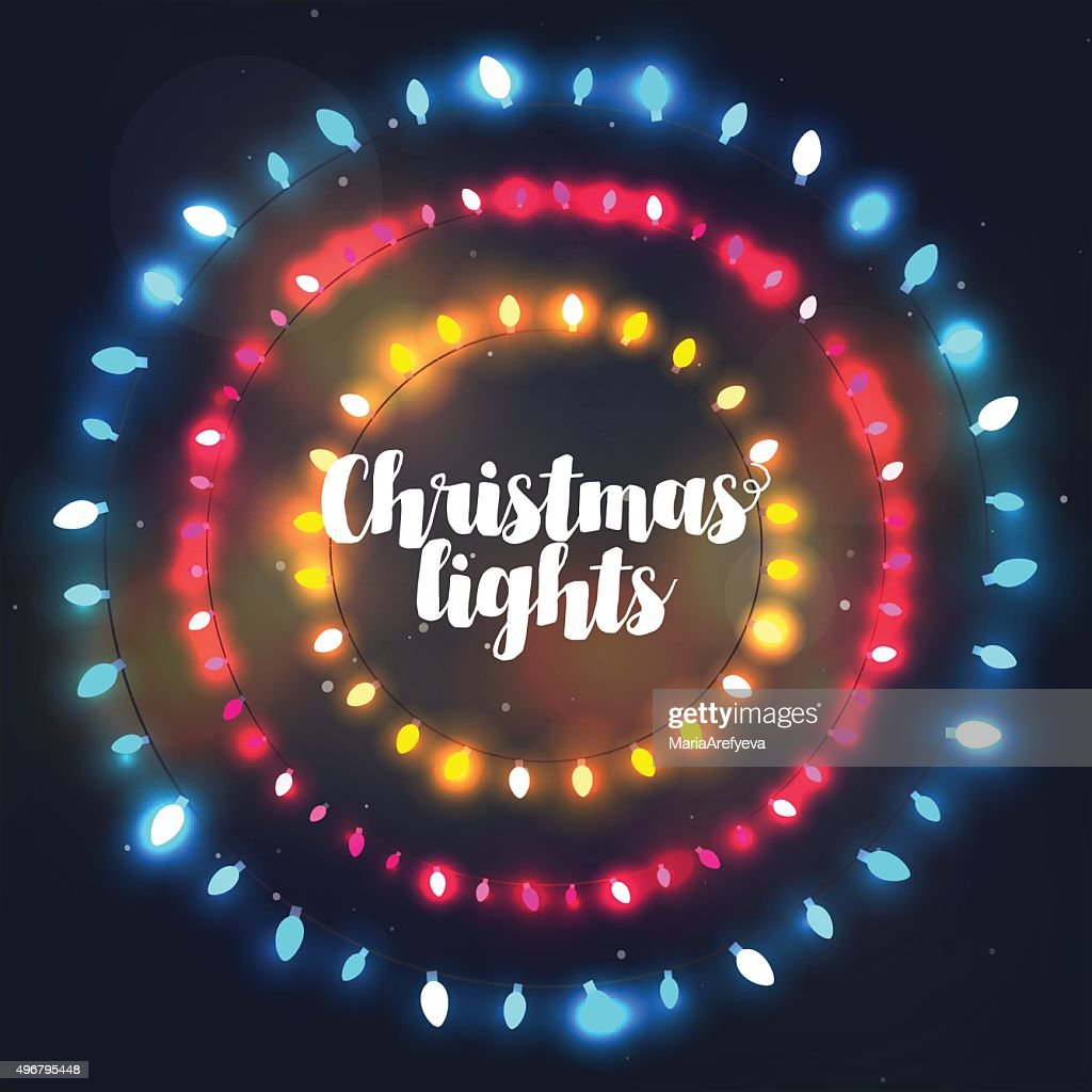 Three circle Christmas light borders of different colors for holidays