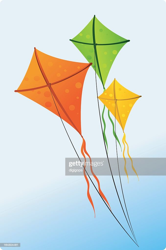 Three colorful kites floating against the sky