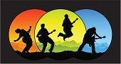 Three colors guitar performance