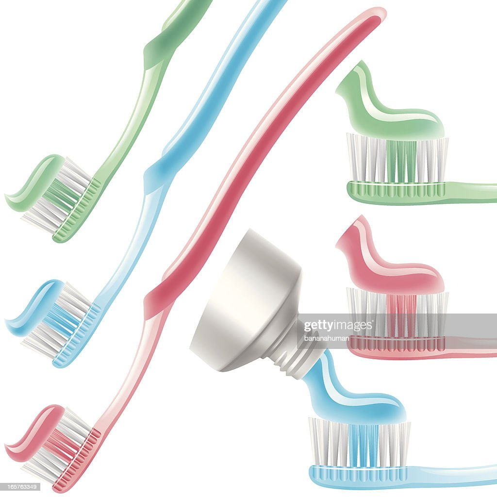 Three colors Toothbrush : stock illustration