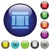 Three columned web layout color glass buttons
