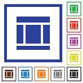 Three columned web layout framed flat icons