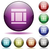 Three columned web layout glass sphere buttons
