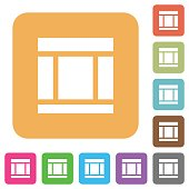 Three columned web layout rounded square flat icons