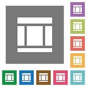 Three columned web layout square flat icons
