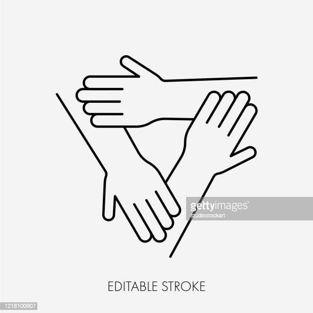 three connected hands. editable stroke - three people stock illustrations