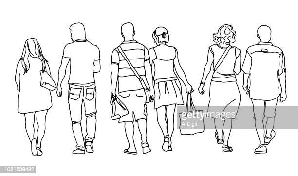 three couples out for a walk - leaving stock illustrations