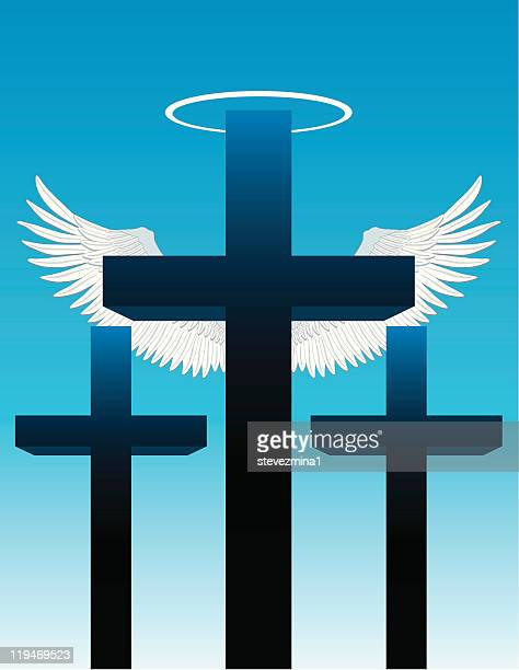 three crosses, angel wings and halo - palm sunday stock illustrations