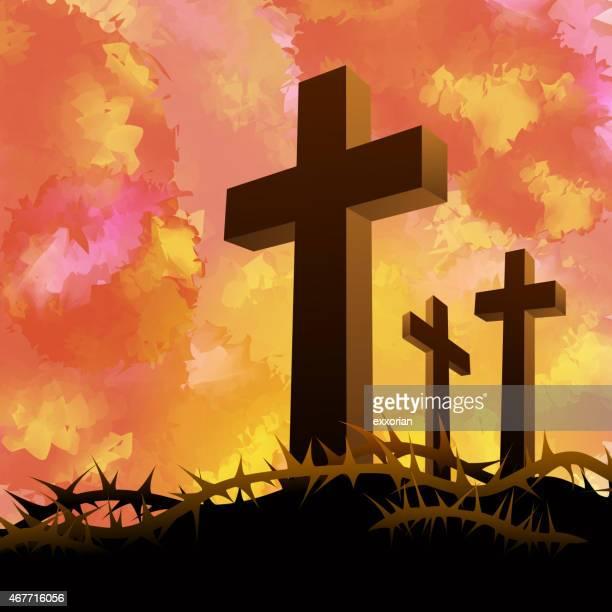 bildbanksillustrationer, clip art samt tecknat material och ikoner med three crosses in golgotha tranquil scenes - taggig buske