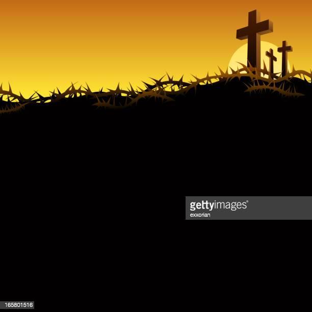 bildbanksillustrationer, clip art samt tecknat material och ikoner med three crosses in golgotha - taggig buske