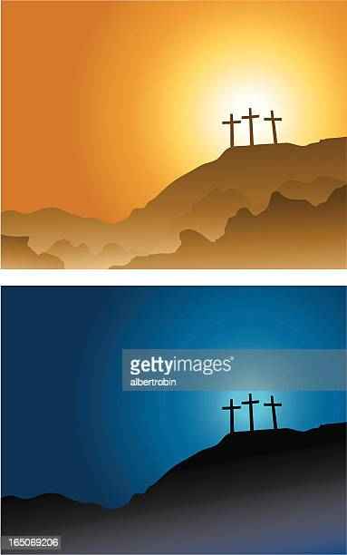 three crosses on the hill... - lent stock illustrations